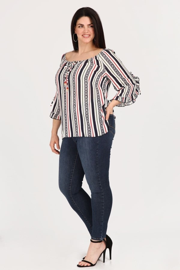 Striped blouse with beads