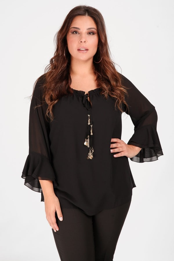 Blouse with mesh on the sleeves