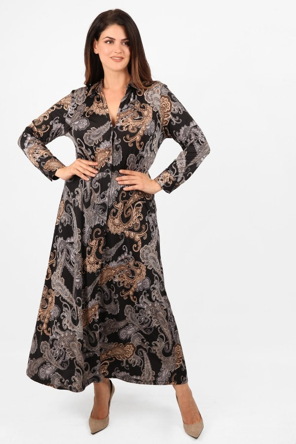 Maxi shirt-style printed dress