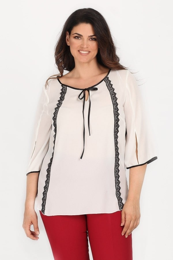 Shirtblouse with laced stripes