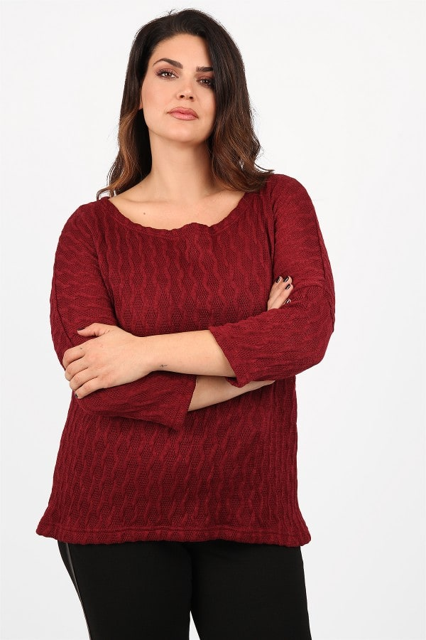 Knit blouse with embossed texture