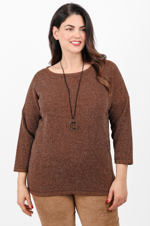 Knit longsleeved blouse with a pendant