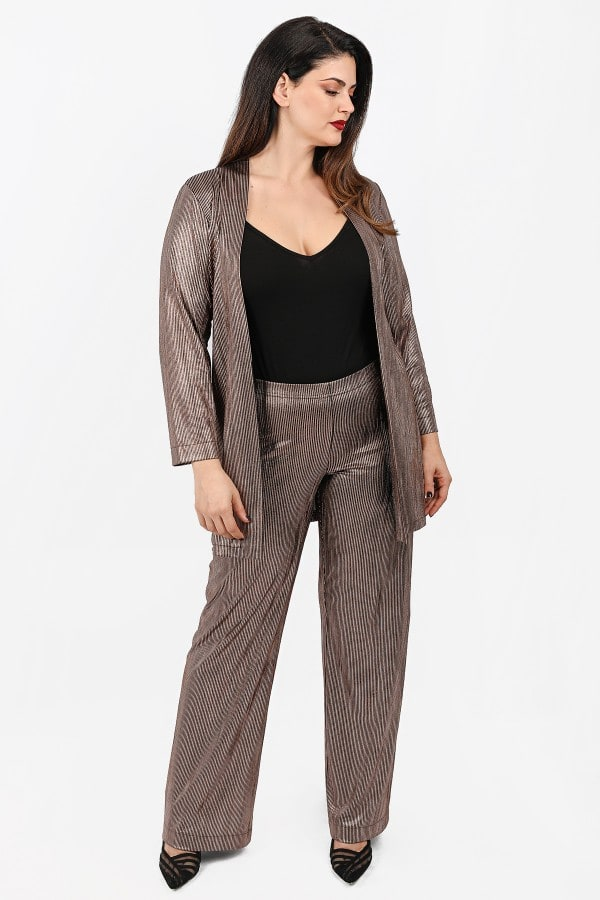 Wide leg trousers with metallic view