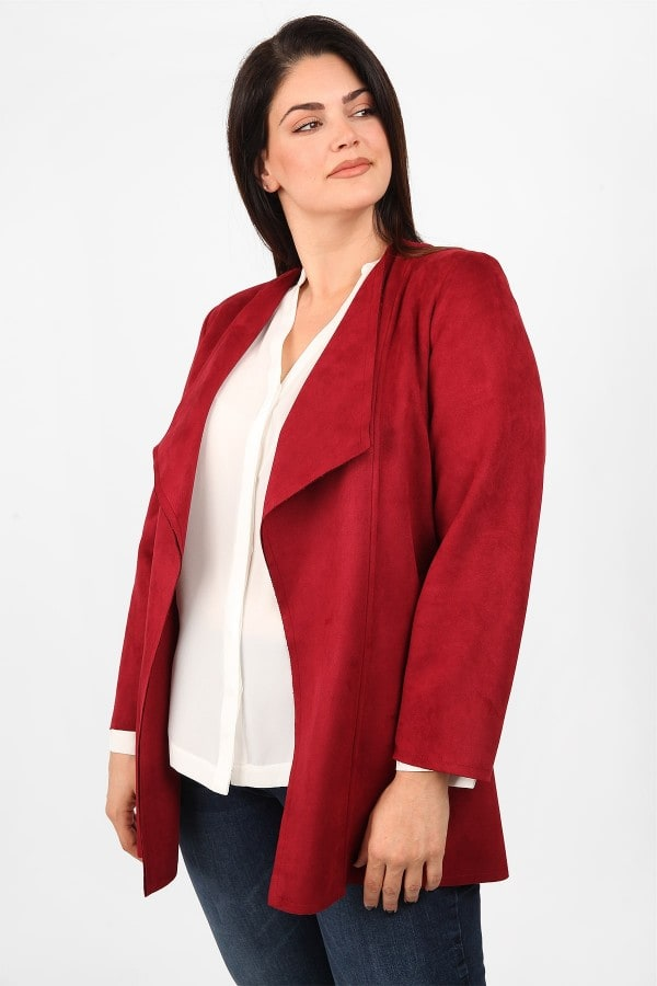 Suede jacket with draped lapel