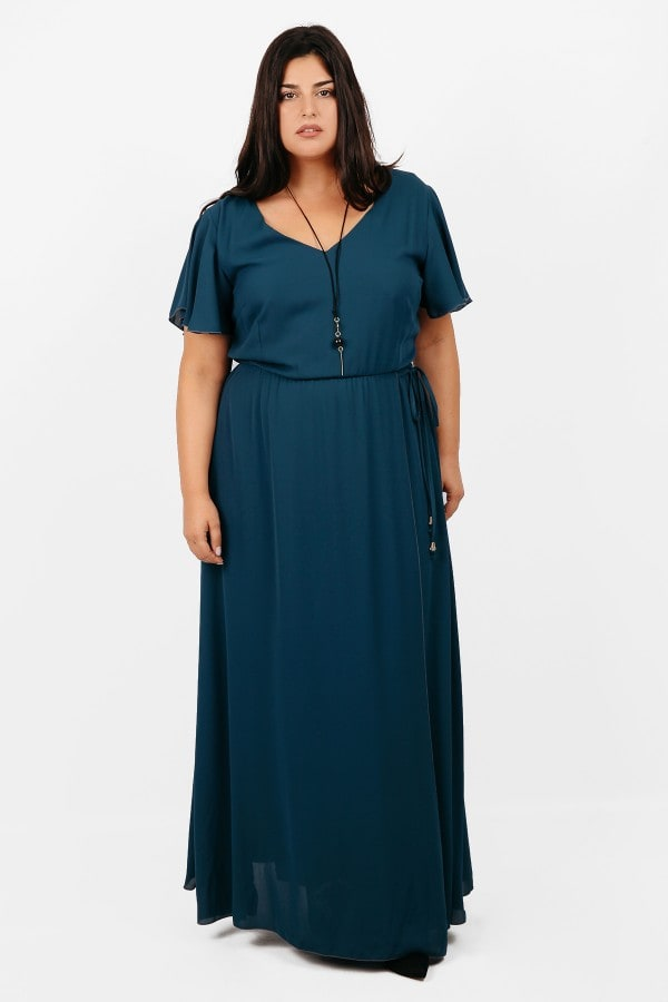 Maxi dress with bell sleeves