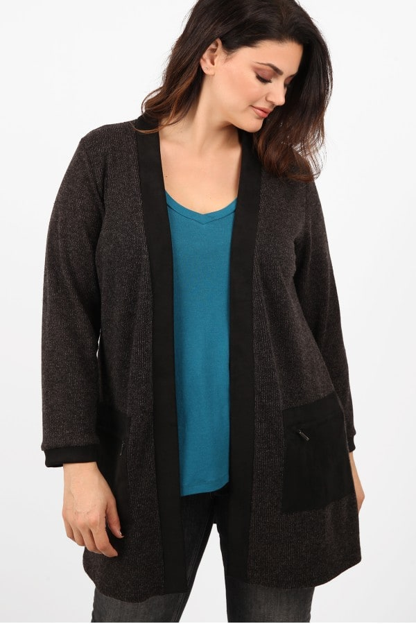 Knit cardigan with suede pockets