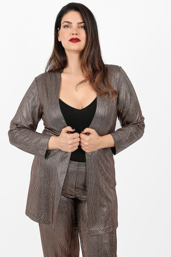 Cardigan with metallic view
