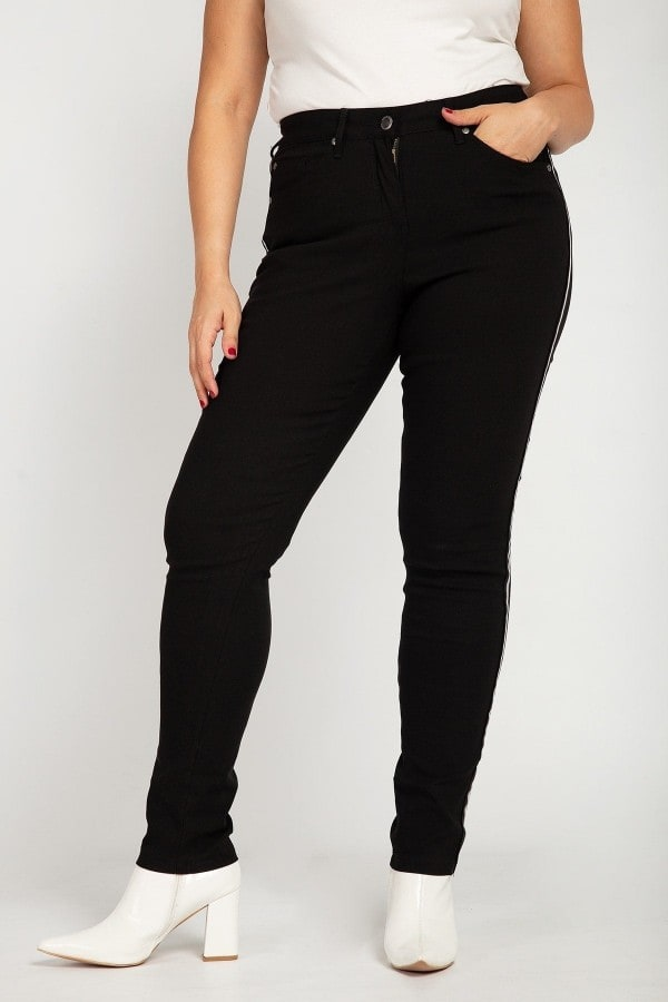 Viscose trousers with side lurex panel