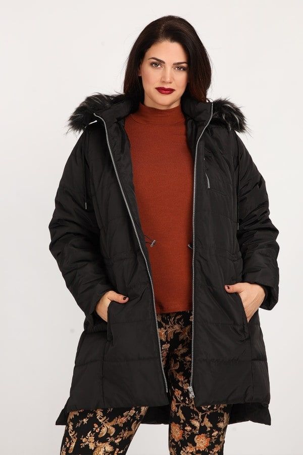 Puffer jacket with hood  faux fur