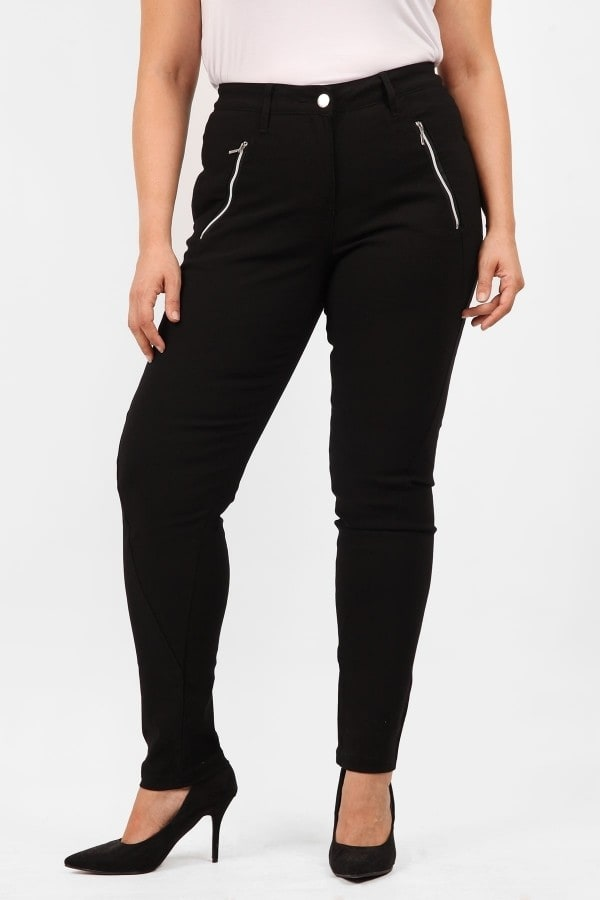 Stretchy crepe trousers with zippers