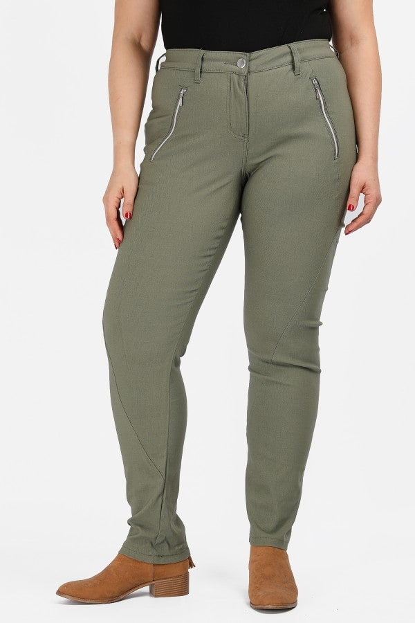 Stretchy bengaline trousers with zippers
