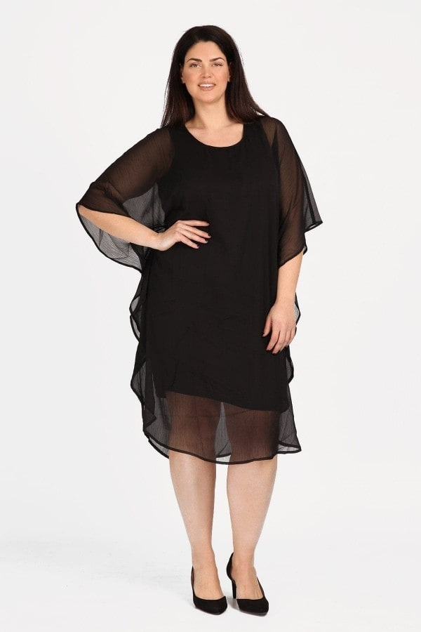 Evening dress with overlay tunic