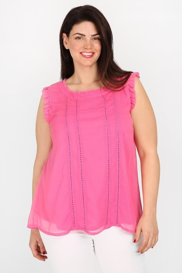Broderie anglaise ruffled top