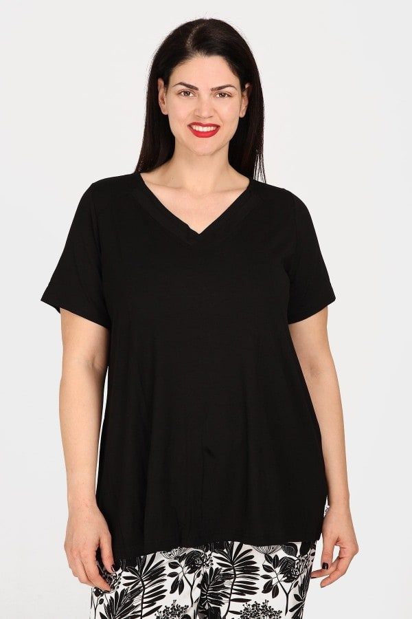 Viscose blouse with double V