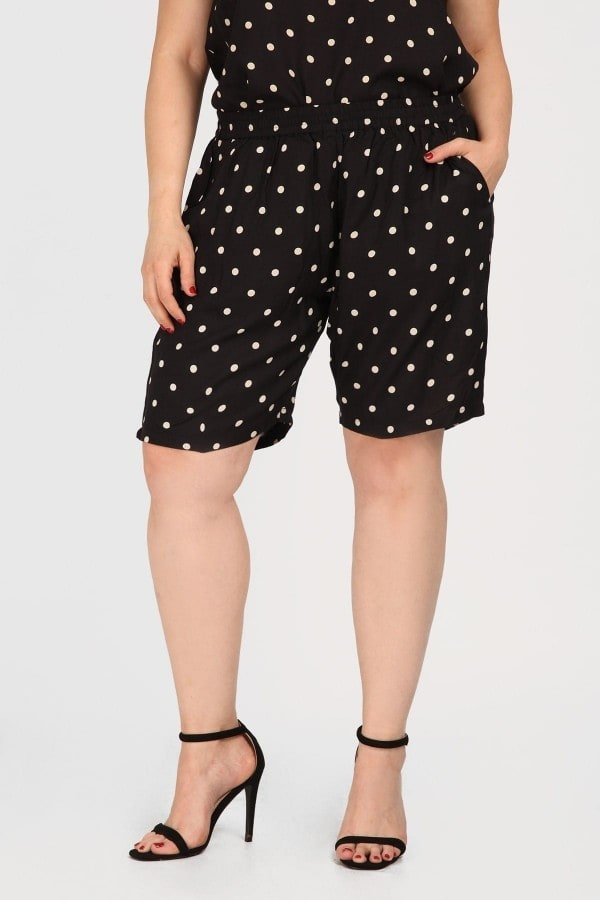Polka dots viscose bermuda shorts
