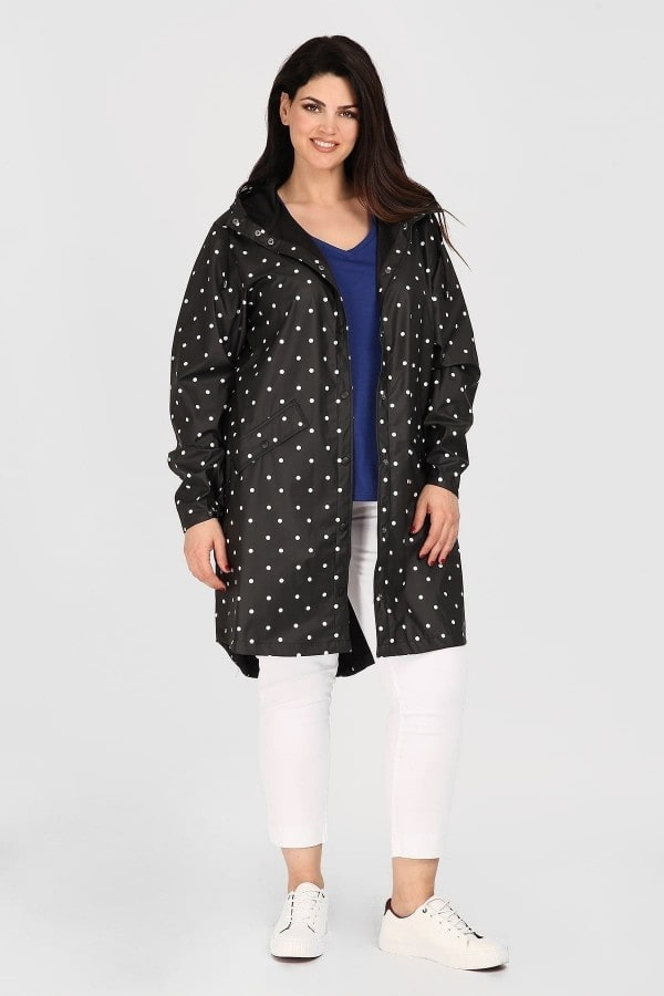 Waterproof parka in polka dots pattern