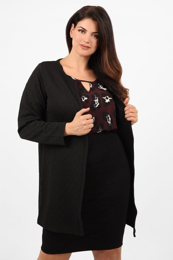 Open front jacquard cardigan