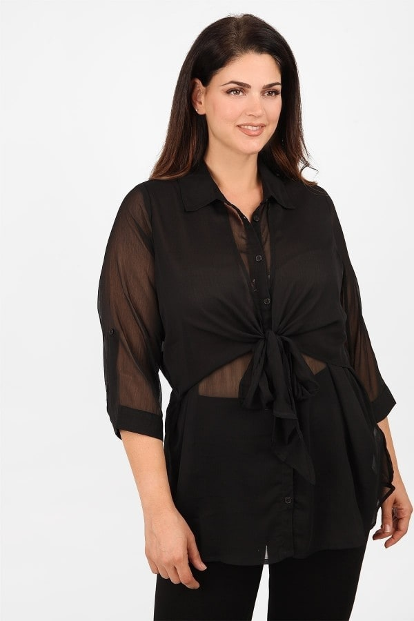 Evening layered blouse with ties under the bust