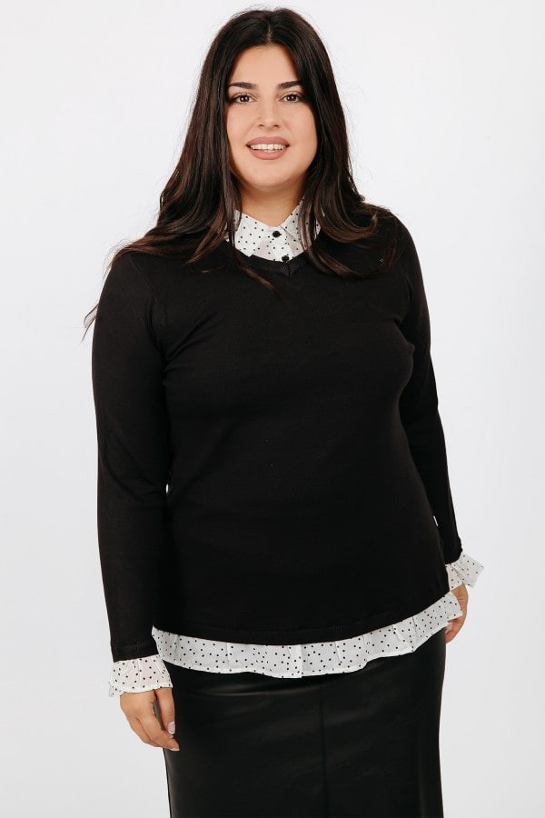 Blouse with polka dots shirt details