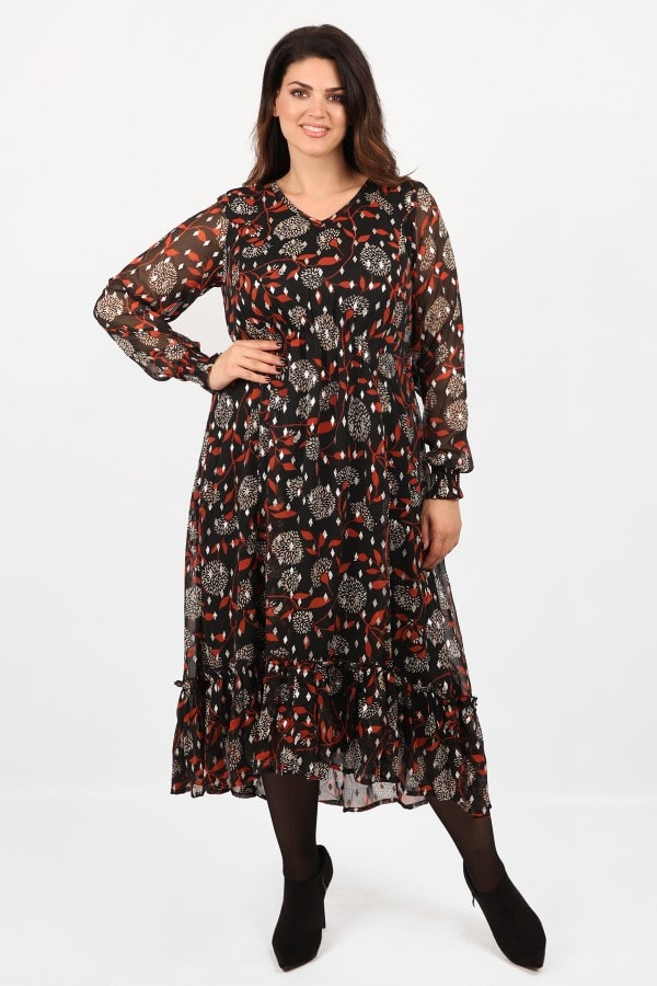 Midi printed dress from crepe chiffon