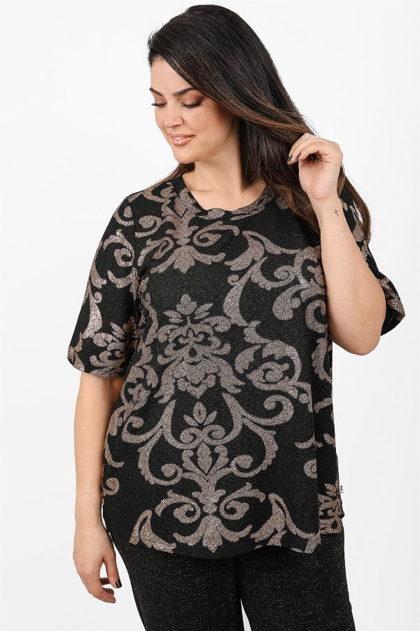 Jacquard blouse with lurex print