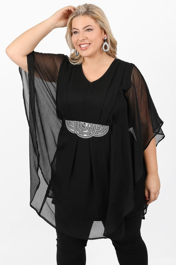 Chiffon tunic with embroidery from sequins