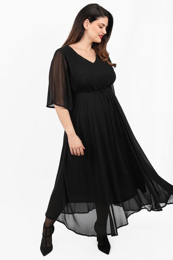 Maxi dress from layers of georgette