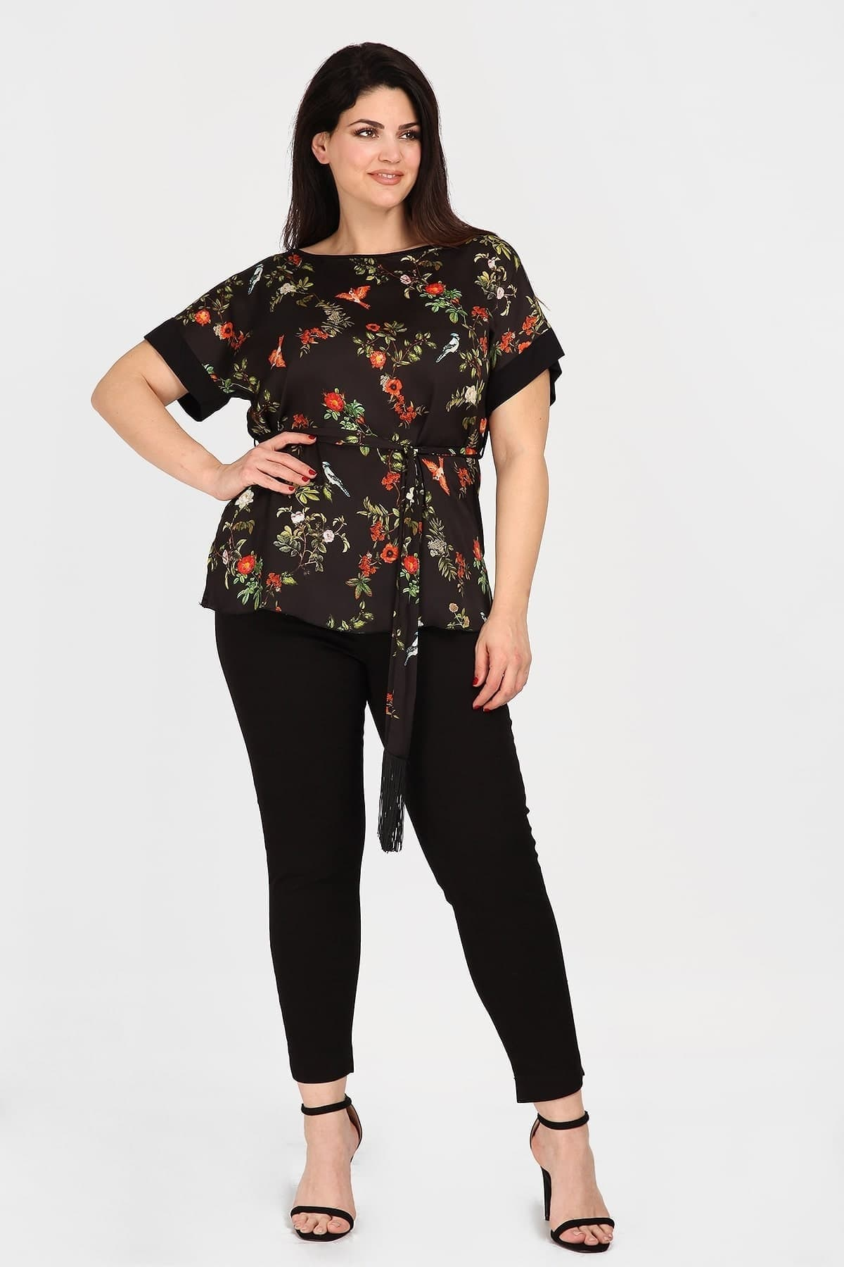 Floral blouse with belt