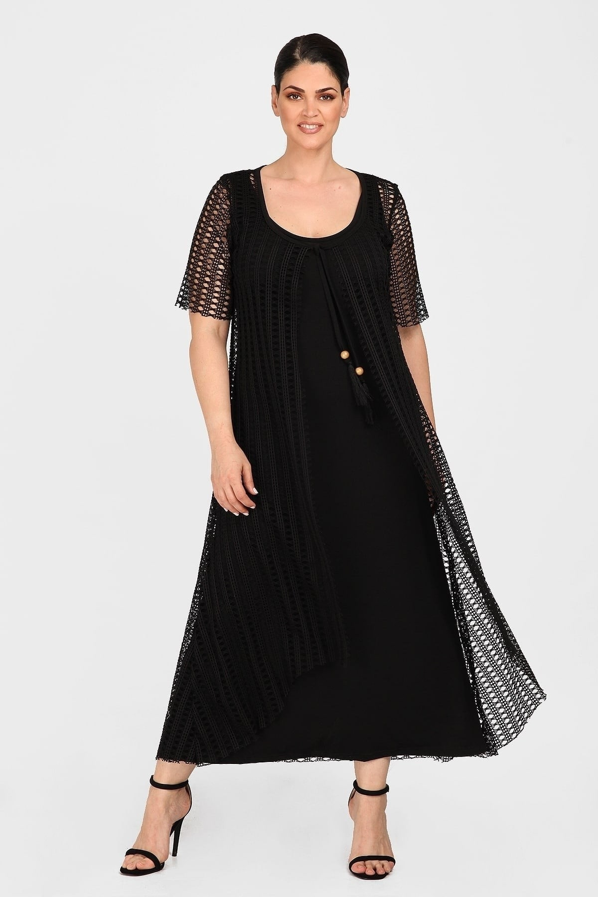 Εvening maxi dress with crochet tunic