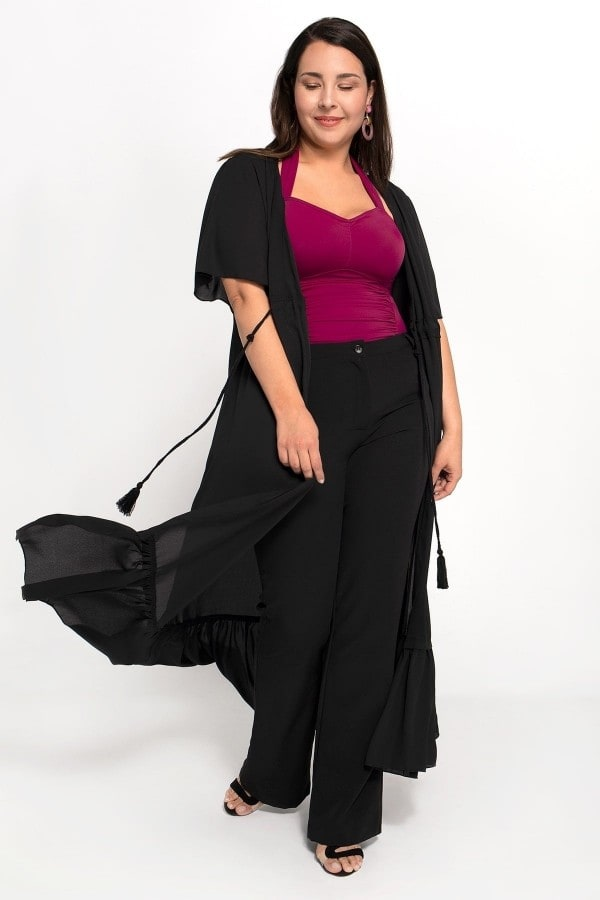 Maxi cardigan shirring with frinced cord under the bust