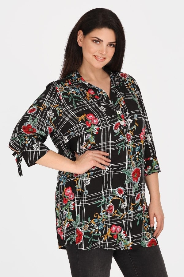 Blusa camisera larga estampada