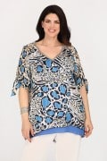 Evening leopard blouse with silver V and lurex details
