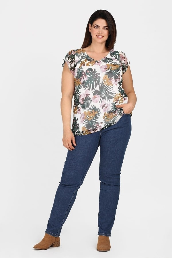 Camiseta estampada tropical con hilos metalizados